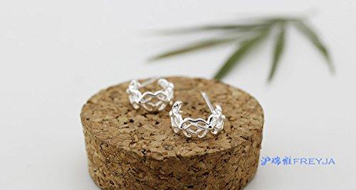 usongs Shanghai Swiss-Belhotel 925 sterling silver earrings hollow flower earrings arc-shaped arch fresh