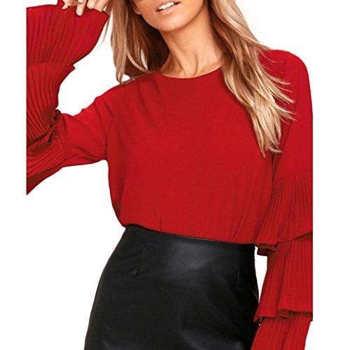 Women's Round Neck Layered Ruffle Long Sleeve Elegant Tee Top Blouse