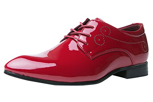 Herrenschuhe Herren Derby Schnürhalbschuhe Business Schnürer Halbschuhe Klassischer Schuhe Männer Rote 41 EU vyrf8c