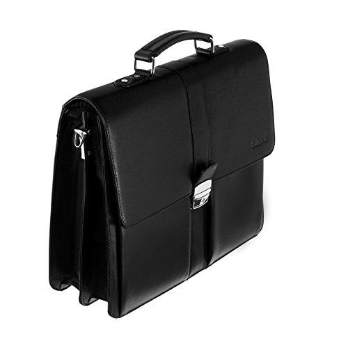 Boudier & Cie Hombre Maletín Bolso de negocios tipo bandolera de una sola asa Cuero negro - BBG2