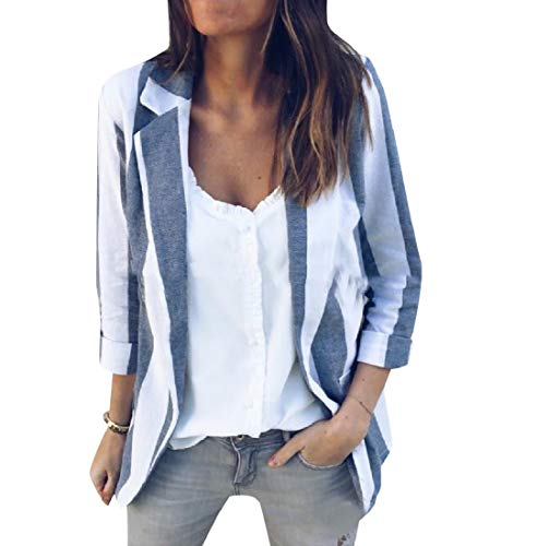 (Losait Women's Cardi Pinstripe Slim Fitting Regular Cozy Blazer Jacket AS1 M)