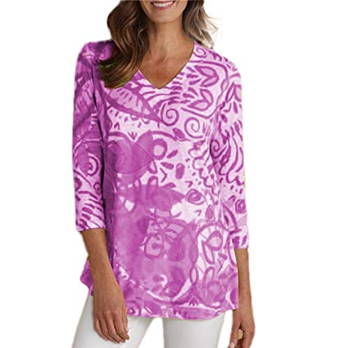 Big Sale, YetoWomens Fashion Tunic Dress Casual Floral Print Shirts Short Sleeve O-Neck Tunic Blouse Tops Pink