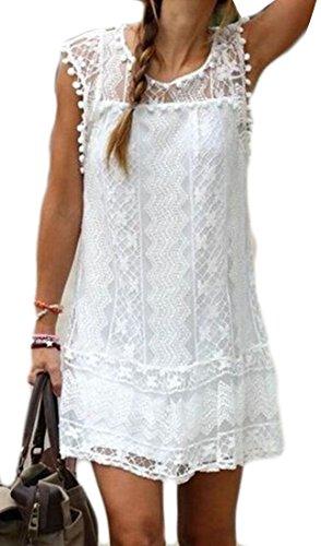 Pianura Girocollo Cromoncent Vestito Cava Manica Femminile Bianco Corta Midi Pizzo M 7wxqYP