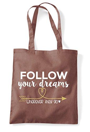 Wherever Your Bag Shopper They Dreams Go Follow Tote Chestnut AFvnEwdwq