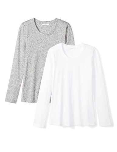Amazon Brand - Daily Ritual Women's Lightweight 100% Supima Cotton Long-Sleeve Crew Neck T-Shirt, White/Heather Grey Spacedye, Medium (Ladies Long Sleeve Crew Neck T Shirts)