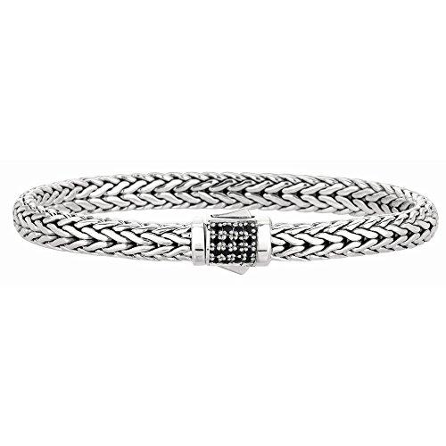 Rhodium argent Sterling plaqué Bracelet tressé tout JewelryWeb poli