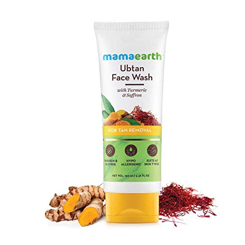Mamaearth Ubtan Natural Face Wash for Dry Skin with Turmeric & Saffron for Tan removal and Skin brightning 100 ml – SLS…