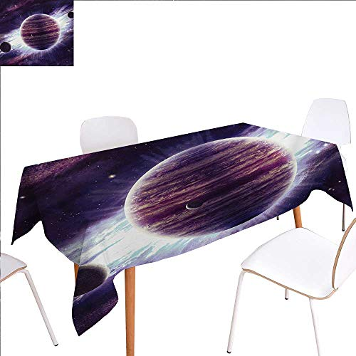 familytaste Galaxy Patterned Tablecloth Outer Space Theme Planets Saturn Mars Neptune Science Fiction Solar Scene Artprint Dust-Proof Oblong Tablecloth 60