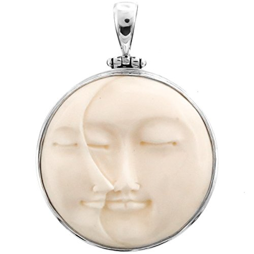 """Carved Sun Crescent Moon Moonface Duo Goddess Bison Bone 925 Sterling Silver Pendant, 1 3/4"""""""