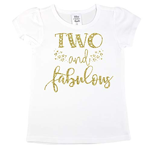 Olive Loves Apple Two and Fabulous Gold Glitter 2nd Birthday Shirt Girls with Puff Short Sleeves