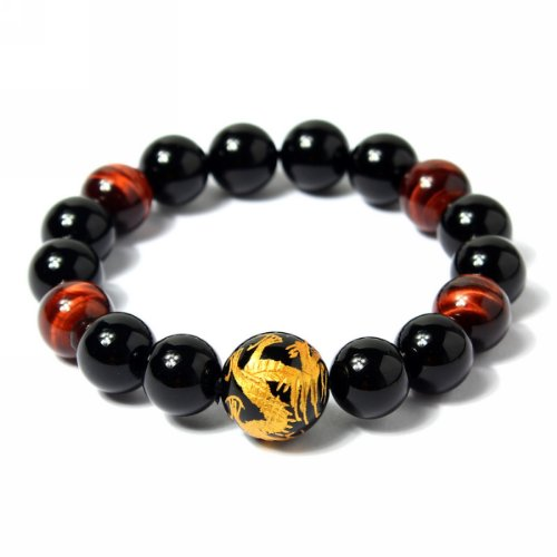 Merdia Men's 12mm Tiger Eye Agate Bead Bracelet (Golden Color) Dragon King Pattern Stretch Bracelet Length: 7.6