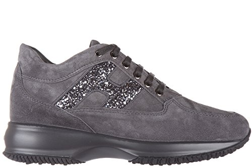Hogan Womens Shoes Suede Trainers Sneakers Interactive Grey uClJitFm