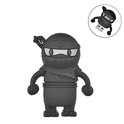 AreTop Ninja/Skeleton shape USB 2.0 Flash Drive Cute Memory Stick Funny storage drive (Ninja 16GB Black)