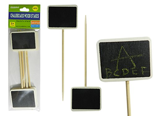 4PC Chalkboard Wooden Stakes Size: 2.6'' x 1.8'' and 5.9'' L , Case of 96