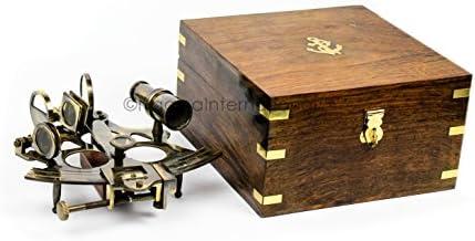 "5/"" SEXTANT BRASS IN WOODEN BOX ~ NAUTICAL ~ MARITIME DECOR ~ PIRATE ~ MARITIME"