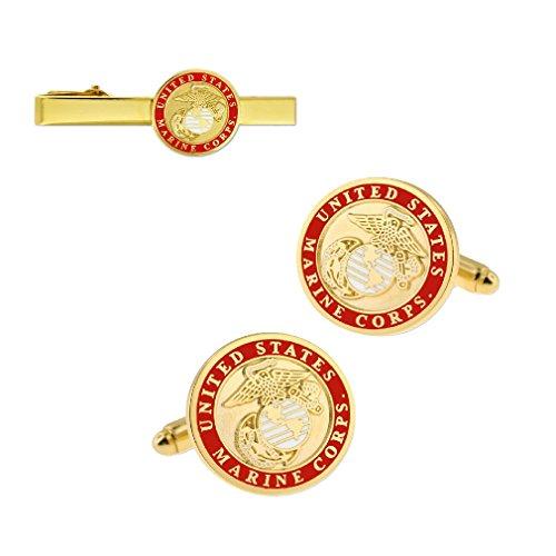 PinMart Gold USMC Marine Corps Logo Tie Clip & Cufflink Military 2 Piece Bundle