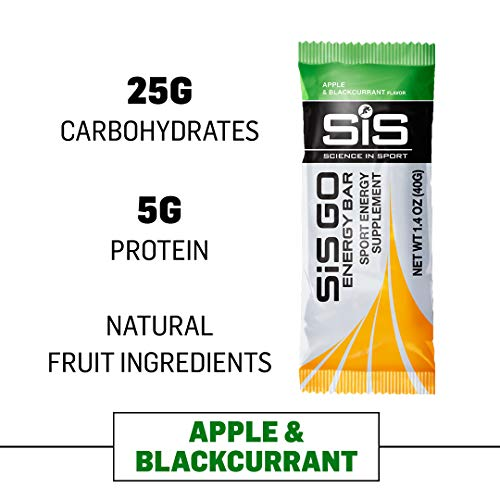 Science in Sport Go Energy bar   Apple & Blackcurrant Flavor - Carbohydrate Endurance Snack Bars - 20 Pack (40g)
