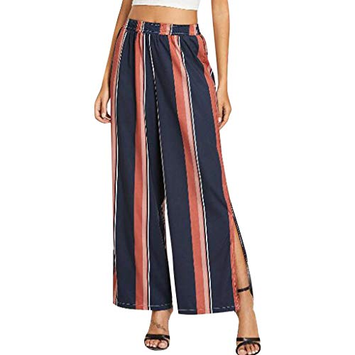(XUEJIN Women's Comfy Elastic Waist Trousers Casual Stripe Culottes Wide Leg Pants with Pockets Navy)