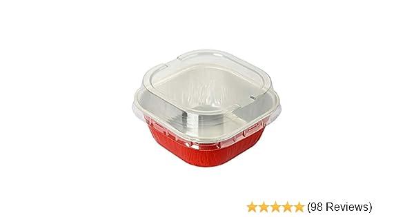 Black, 1000 #ALU6P KitchenDance Disposable Aluminum 4 x 4 Square 8 ounce Dessert Pans W//Lids