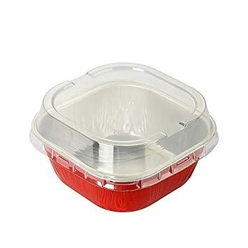 KitchenDance - Sartenes desechables de aluminio de 10,16 x 10,16 cm, cuadrados, 236 ml, con tapa, ALU6P: Amazon.es: Hogar