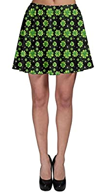 CowCow Womens Green Shamrock Clover Leaves St Patricks Day Festival Skater Skirt, XS-3XL