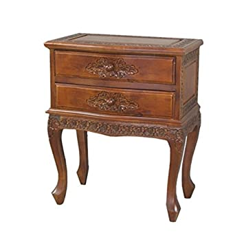 International Caravan 3864 IC Furniture Piece Carved Wood Two Drawer Table