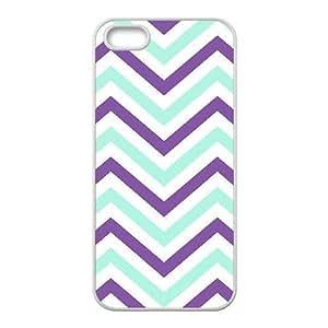 zig zag pattern aztec purple blue white iPhone 5,5S Case White