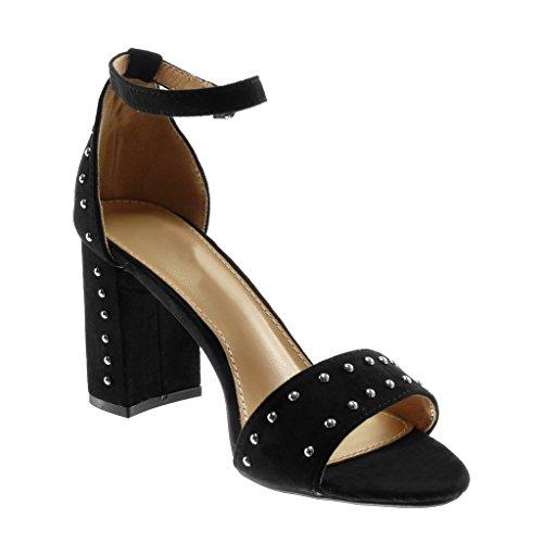 Pumps Damen Schwarz High Heels 8.5cm Nieten Schuhe