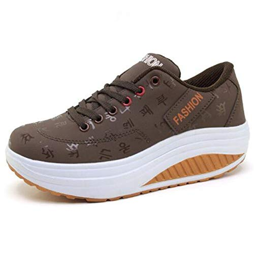 DETAIWIN Womens Sneakers Low Top Lace-up Faux Leather Slip On Platform Increased Height Casual Sport Shoes