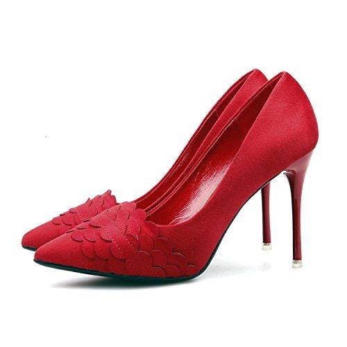 alti red tacchi banchetti sottile Scarpe donna ZHZNVX lavoro notte di alti tacchi sexy Suggerimento con rosso professionale satin matrimonio nUaRE