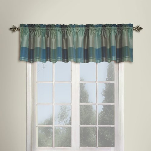 United Curtain Plaid Straight Valance, 54 by 18-Inch, Blue/Green