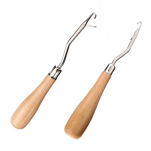 (6.2 Inch Wooden Handle Bent Latch Hook Tool, Crochet Needle for Canvas Mat Rug Craft, Set of 2)