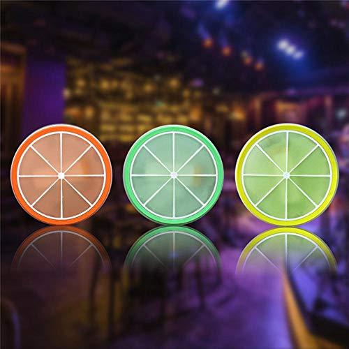Obtto 9 * 9CM LED Antideslizante Decoracion de Cocina Accesorios Mantel Que Brilla en la Oscuridad para Mesa de Comedor Posavasos Bebida Ayuda de Cocina Estera, Verde