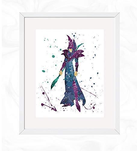 Dark Magician Prints, Yu-Gi-Oh Watercolor, Nursery Wall Poster, Holiday Gift, Kids and Children Artworks, Digital Illustration Art (Best Dark Magician Artwork)