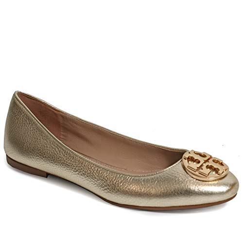 - Tory Burch Tumbled Leather Claire Ballet Flat (8.5, Spark Gold)