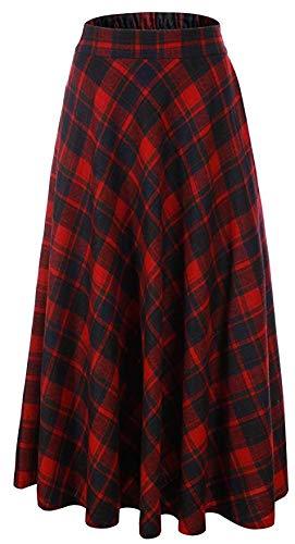 Vocni Women Flared Plaid A-Line Winter Wool Blend Midi Long Skirt,Red Plaid,US XS/Tag L (Waist 28