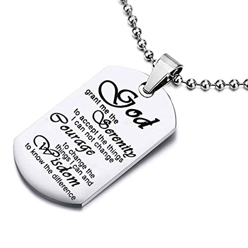 Zuo Bao Meaningful Words Hand Stamped Stainless Steel Dog Tag Pendant Necklace Inspirational Gifts (Serenity Prayer)