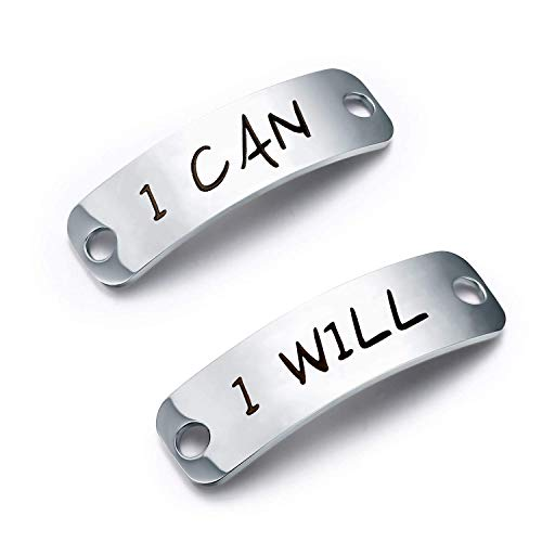 ENSIANTH Shoe Lace Tag Trainer Tags I will I can Shoe Tags Fitness Gym Gift Runners Gift Inspirational Gift (I Will I Can)