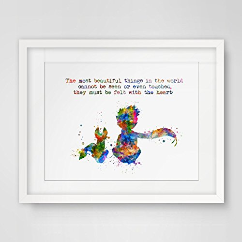 The Most Beautiful Things in The World Cannot Be Seen or Touched, They must be Felt With the Heart Wall Picture Nursery The Little Prince Art Living Room Home Decor 8x10inch No Frame ()