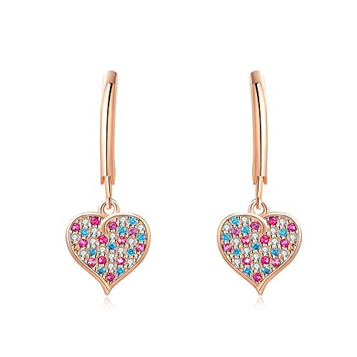 Heart Dangle Girl Earrings with Colorful Crystal Lever back kid earring Sterling Silver posts with luxury velvet gift box