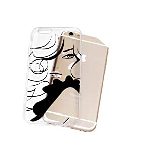 Iphone 6 Plus/ 6 Plus S Transparent TPU Silicone Case with Woman Silhoutte Design