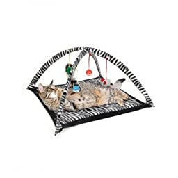 Cat Activity Play Mat with Hanging Toy Balls, Mice & More - Helps Cats Get Exercise & Stay Active By Tzipco\'s Brand