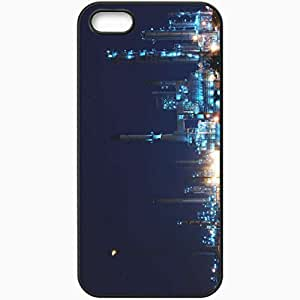 Protective Case Back Cover For iPhone 5 5S Case Factory Plant Night Lights Black