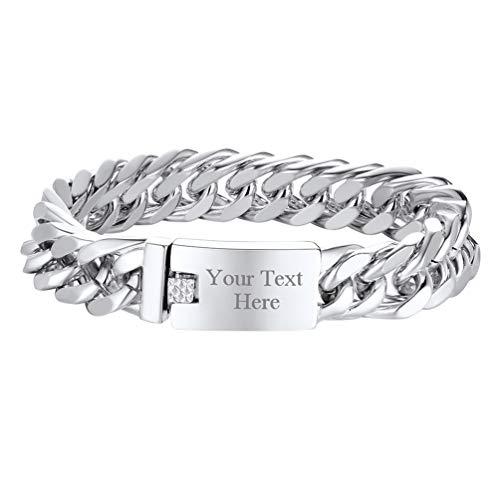 PROSTEEL Personalized Chunky Big Bracelet Stainless Steel Custom Curb Cuban Link Chain ID Bracelet Men Jewelry ()