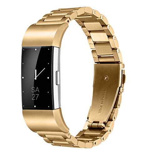 Gold Link Curves (Fitbit Charge 2 Wrist Band,Shangpule Stainless Steel Metal Replacement Smart Watch Band Bracelet with Double Button Folding Clasp for Fitbit Charge 2 (Gold))