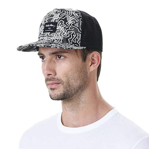 WITHMOONS Snapback Hat Keith Haring Pop Art Dancing Man Pattern Meshed Baseball Cap CR2994 (Green)