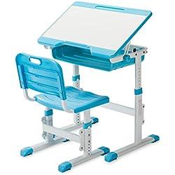 SLYPNOS Ergonomic Adjustable Children's Desk and Comfortable Chair Set Specially Designed for Children Age 3-14, Blue