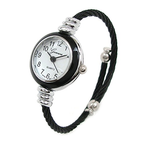 (New Geneva Black Silver Cable Band Women's Small Size Bangle Watch)