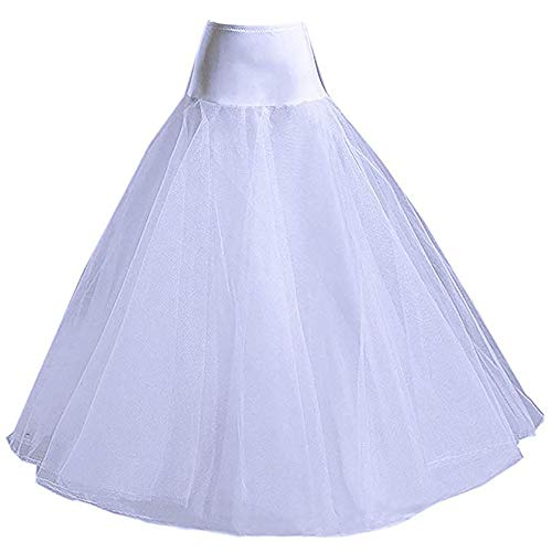 (Guluman Womens Hoopless A Line Petticoat for Wedding Dresses White)