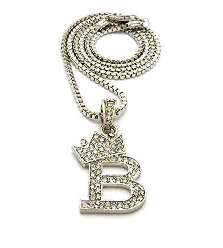 Crown Iced Out King Small Initial Letter Pendant with 24